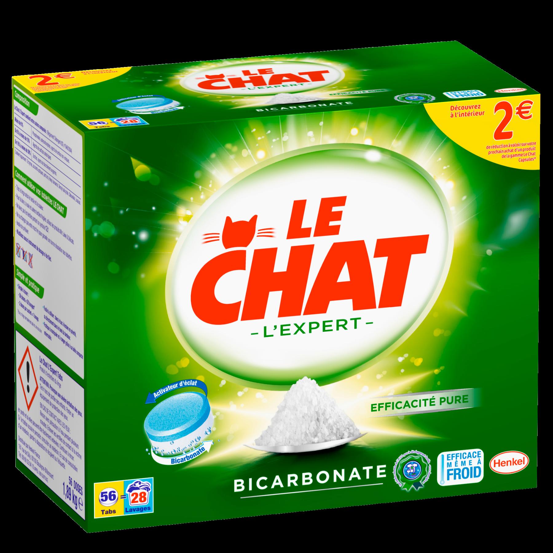 LESSIVE TABS L'EXPERT,LE CHAT,Boîte 1.620 kg / 56 doses / 28 lavages